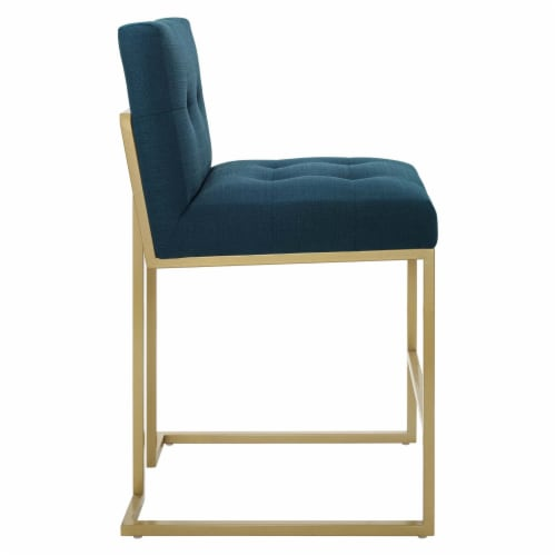 Privy Gold Stainless Steel Upholstered Fabric Counter Stool Gold Azure Perspective: back