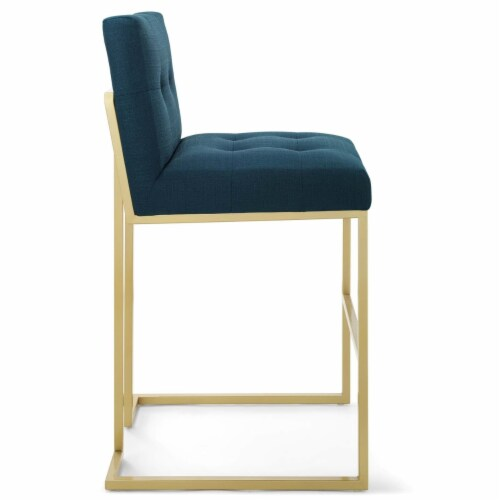 Privy Gold Stainless Steel Upholstered Fabric Bar Stool Gold Azure Perspective: back