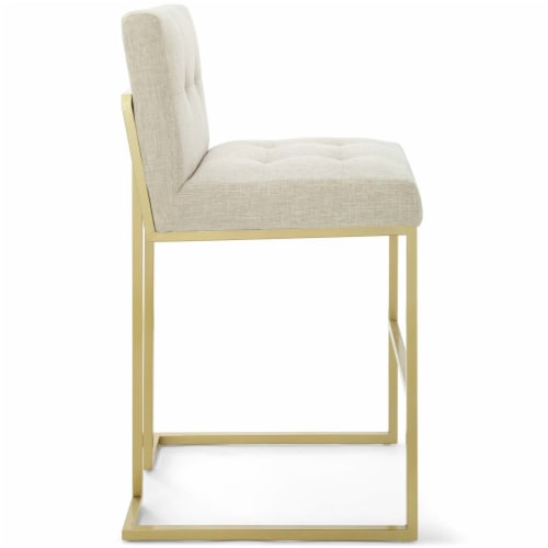 Privy Gold Stainless Steel Upholstered Fabric Bar Stool Gold Beige Perspective: back