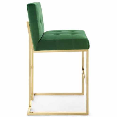 Privy Gold Stainless Steel Performance Velvet Bar Stool Gold Emerald Perspective: back