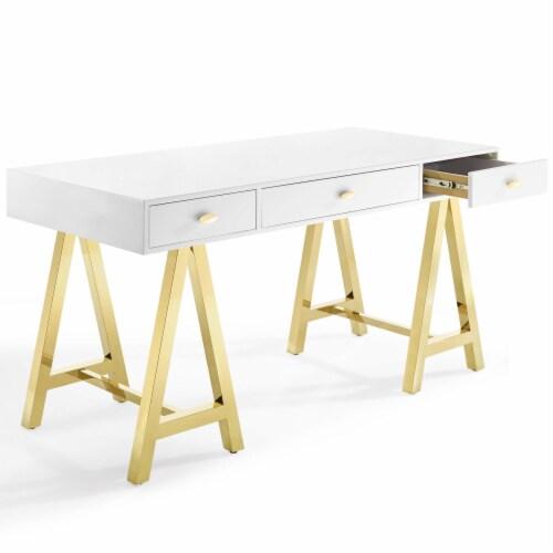 Jettison Office Desk Gold White Perspective: back