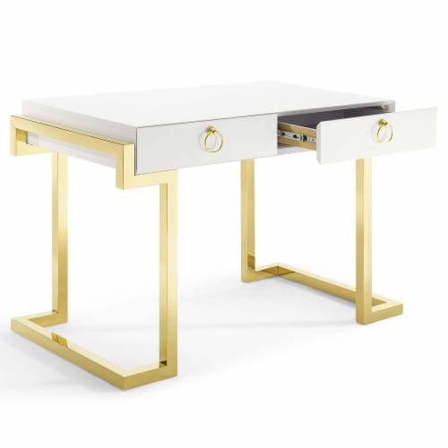 Ring Office Desk Gold White Perspective: back