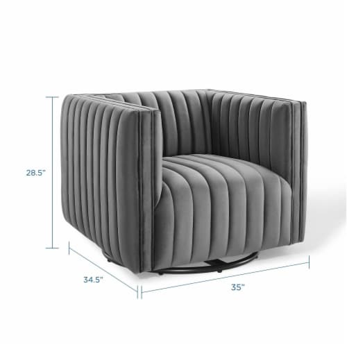 Conjure Channel Tufted Performance Velvet Swivel Armchair Gray Perspective: back