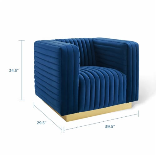 Charisma Channel Tufted Performance Velvet Accent Armchair Navy Perspective: back