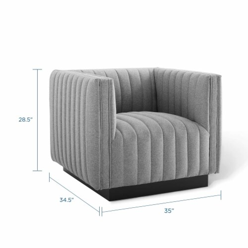 Conjure Tufted Upholstered Fabric Armchair Light Gray Perspective: back