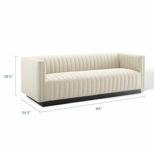 Conjure Tufted Upholstered Fabric Sofa Beige Perspective: back