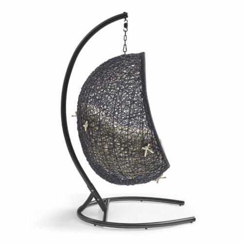 Encase Sunbrella Swing Outdoor Patio Lounge Chair Black Beige Perspective: back