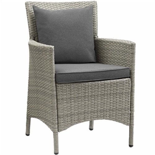 Conduit Outdoor Patio Wicker Rattan Dining Armchair Set of 4 Light Gray Charcoal Perspective: back
