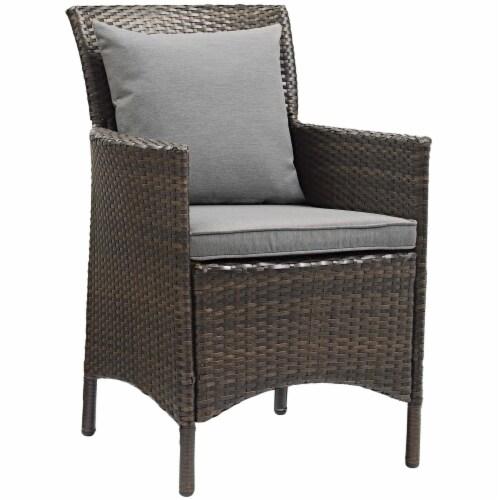 Conduit Outdoor Patio Wicker Rattan Dining Armchair Set of 2 Brown Gray Perspective: back