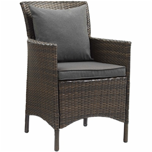Conduit Outdoor Patio Wicker Rattan Dining Armchair Set of 4 Brown Charcoal Perspective: back