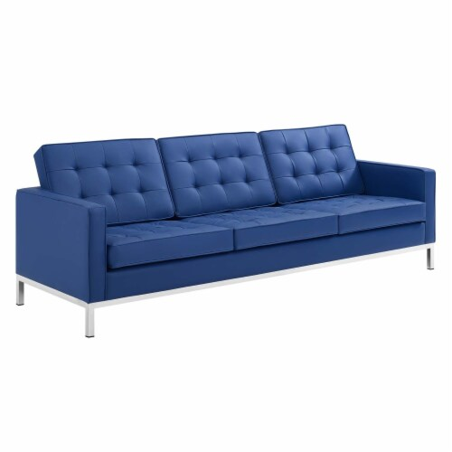 Loft Tufted Upholstered Faux Leather Sofa and Loveseat Set Silver Navy Perspective: back