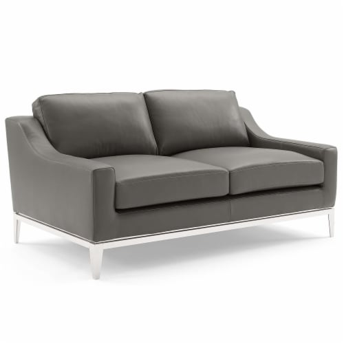 Harness Stainless Steel Base Leather Loveseat & Armchair Set Gray Perspective: back