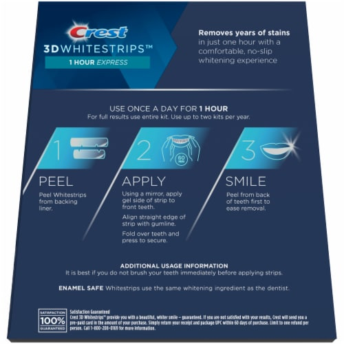 Crest 3D Whitestrips 1 Hour Express Teeth Whitening Treatment Kit Perspective: back
