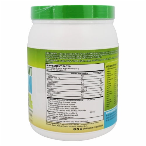 PlantFusion Complete Plant Protein Cookies N' Creme, 1 lb. Perspective: back