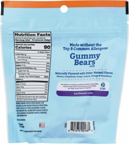 Surf Sweets® Assorted Gummy Bears Perspective: back
