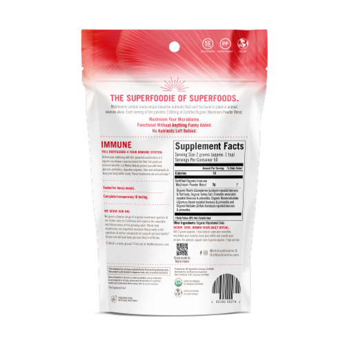 OM  Organic Mushroom Nutrition Supplement Powder - Immune Perspective: back