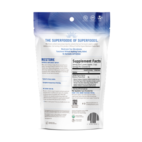 OM Restore Organic Mushroom Nutrition Supplement Powder Perspective: back