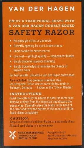 Van Der Hagen Traditional Safety Razor with Razor Blades Perspective: back