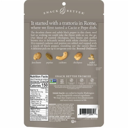 Sahale Snacks White Cheddar Black Pepper Bean + Nut Snack Mix Perspective: back