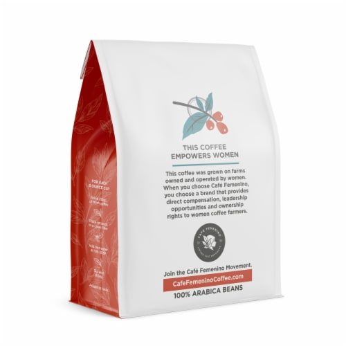 Café Femenino Organic Fair Trade Decaf Whole Bean Coffee Perspective: back