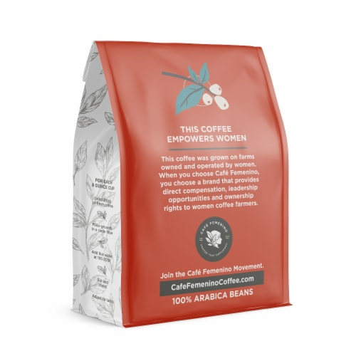 Café Femenino Organic Fair Trade Sumatra Whole Bean Coffee Perspective: back