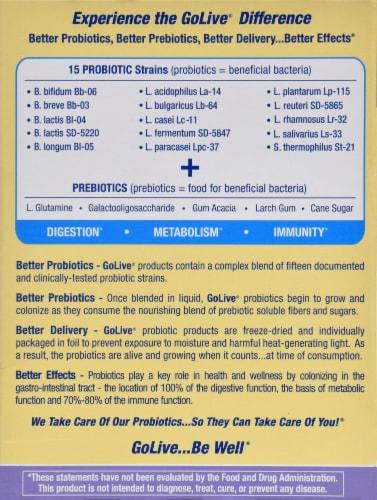 Golive Citrus Probiotic & Prebiotic Drink Mix Perspective: back