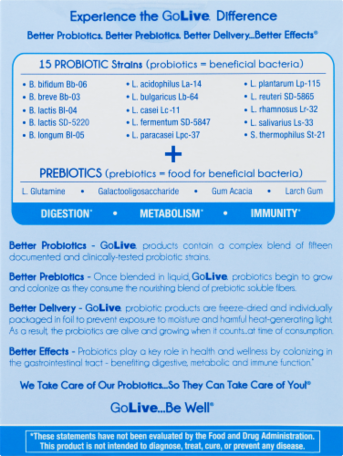 GoLive Flavorless Probiotic & Prebiotic Supplement Perspective: back