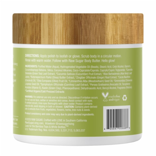 Raw Sugar Living Green Tea + Cucumber + Aloe Vera Whipped Polish Perspective: back
