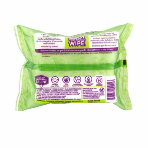 Boogie Wipes Fresh Scent Gentle Saline Nose Wipes Perspective: back
