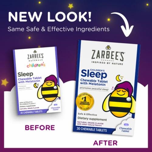 Zarbee's Naturals Children's Sleep Grape Chewable Tablets with Melatonin Dietary Supplement Perspective: back