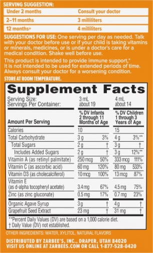 Zarbee's® Baby Natural Orange Flavor Immune Support & Vitamins Supplement Perspective: back