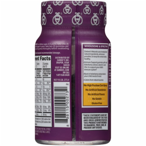 Zarbee's Natural's Children's Elderberry Flavored Immune Support Dietary Gummies Perspective: back