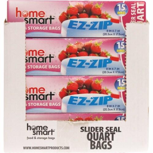 Home Smart Slider Seal Quart Storage Bag (15-Count) HS-00256 Pack of 24 Perspective: back