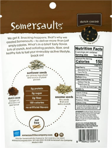 Somersaults Dutch Cocoa Crunchy Sunflower Seed Bites Perspective: back