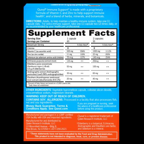 Qunol Immune Support Vegetarian Capsules Perspective: back