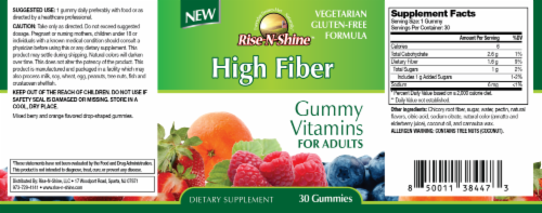 Rise-N-Shine High Fiber Gummy Vitamins-30 Count Perspective: back