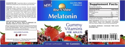 Rise-N-Shine Melatonin Gummy Vitamins Perspective: back
