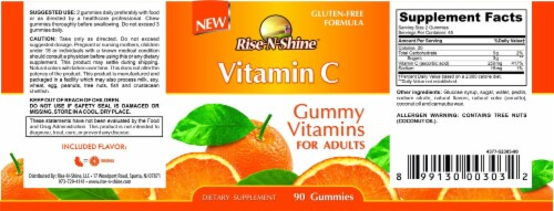 Rise-N-Shine Vitamin C Adult Gummies-90 Count Perspective: back