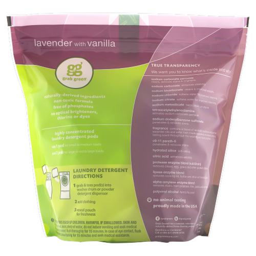 Grab Green 3 in 1 Lavender With Vanilla Laundry Detergent Pods Perspective: back