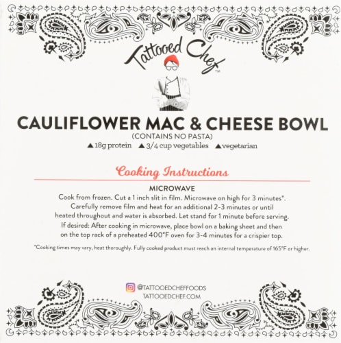 Tattooed Chef™ Cauliflower Mac and Cheese Bowl Frozen Meal Perspective: back