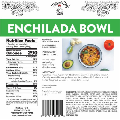 Tattooed Chef™ Riced Cauliflower Enchilada Bowl Frozen Meal Perspective: back