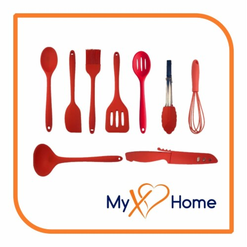 My XO Home Silicone Kitchen Cooking Tools - Red Set of 9 Perspective: back