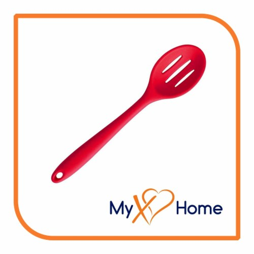 My XO Home Silicone Kitchen Cooking Tools (Red Slotted Spoon) Perspective: back