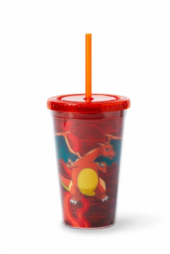 Pokémon Charizard Lenticular Plastic Tumbler Cup Lid & Straw | Holds 16 Ounces Perspective: back
