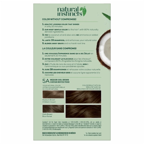 Clairol Healthy Looking Natural Instincts 5A Medium Cool Brown Hair Color Perspective: back