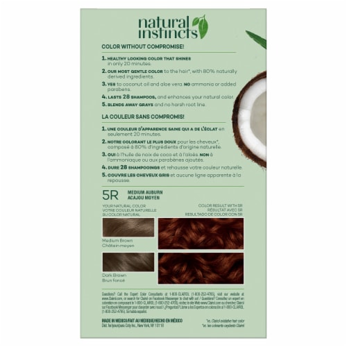 Clairol Healthy Looking Natural Instincts 5R Medium Auburn Hair Color Perspective: back