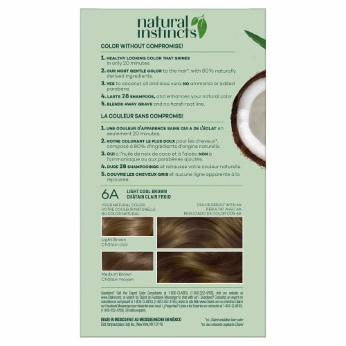 Clairol Natural Instincts Light Cool Brown 6A Semi-Permanent Hair Color Perspective: back