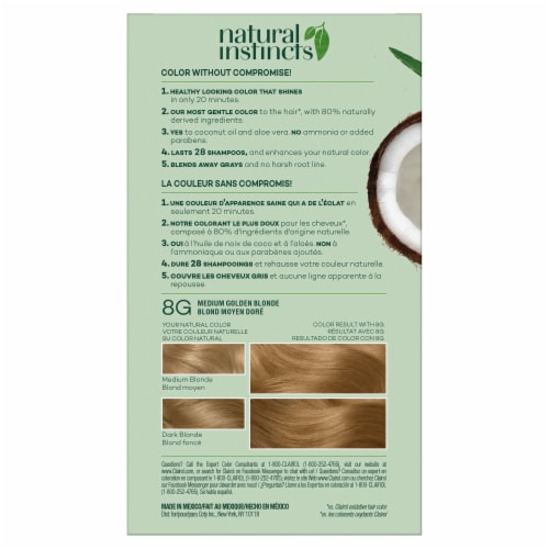 Clairol Healthy Looking Natural Instincts 8G Medium Golden Blonde Hair Color Perspective: back