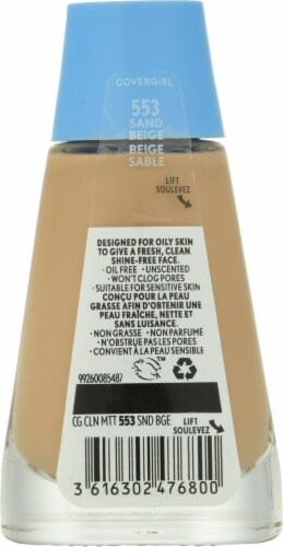 Covergirl Clean Matte 553 Sand Beige Liquid Foudation Perspective: back