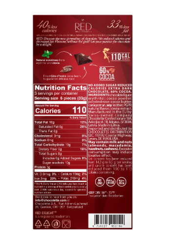 RED Extra Dark Chocolate Bar Perspective: back